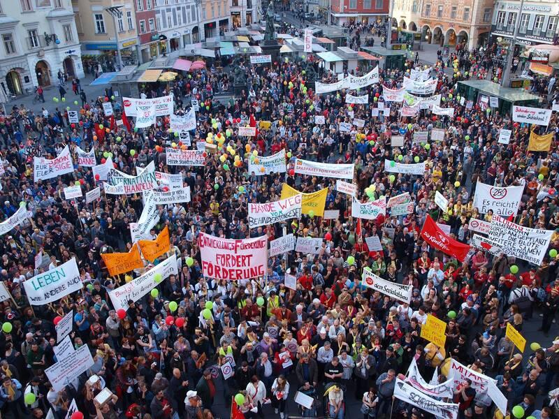 10.000+ Steirerinnen und Steirer protestieren gegen Sozialabbau